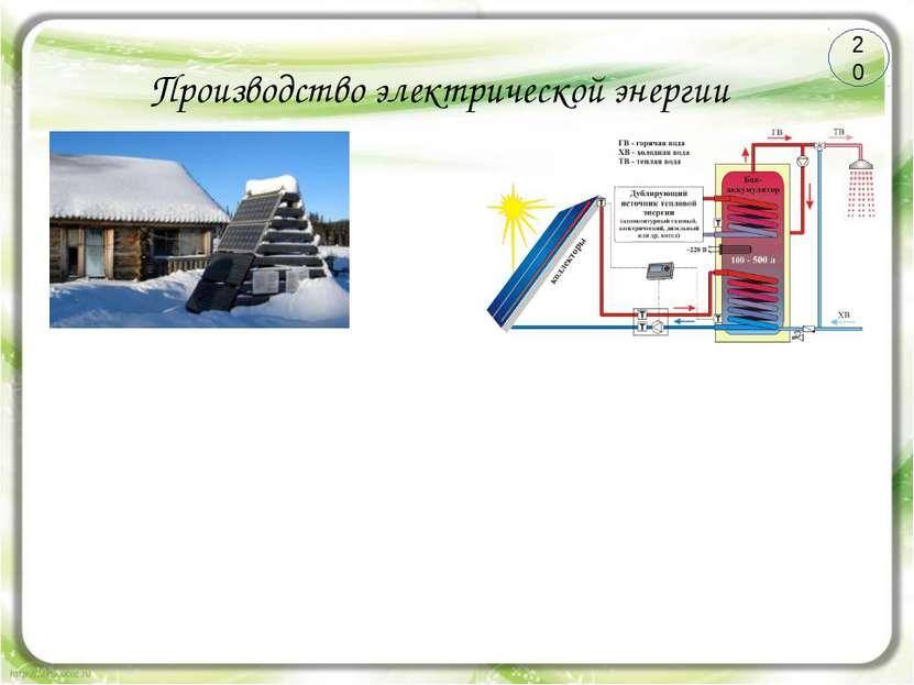 Производство электрической энергии СЭС СЭС Преимущества Недостатки 20