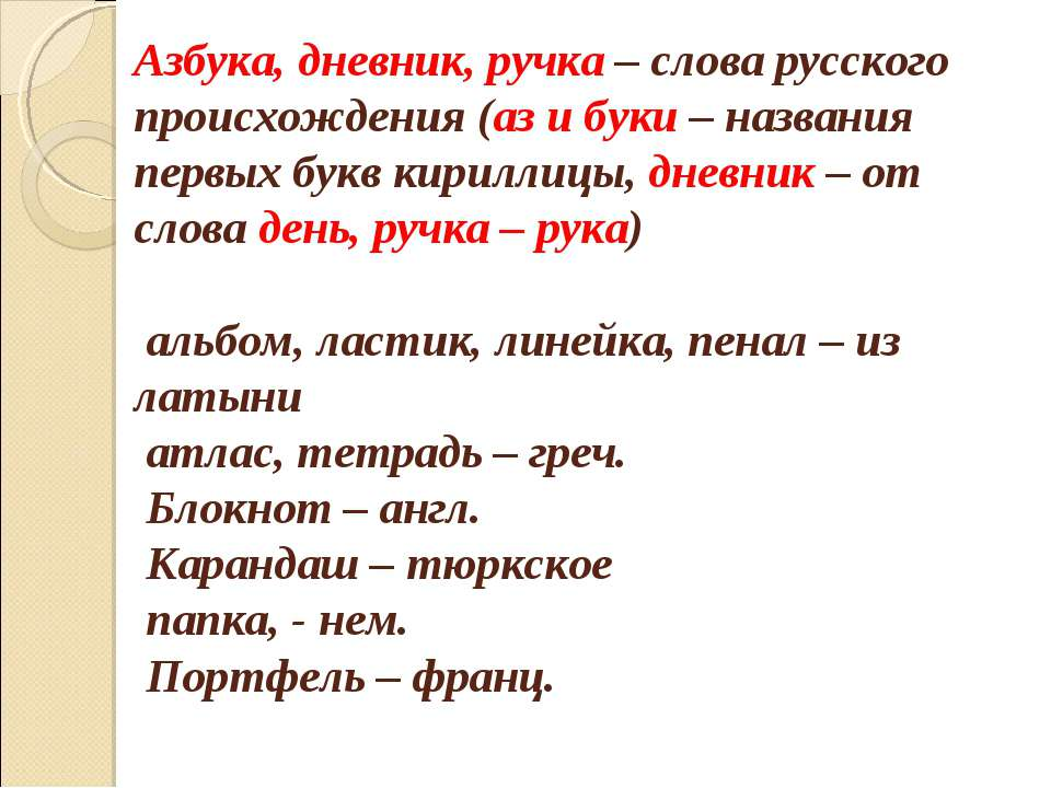 Азбука, дневник, ручка – слова русского происхождения (аз и буки – названия п...