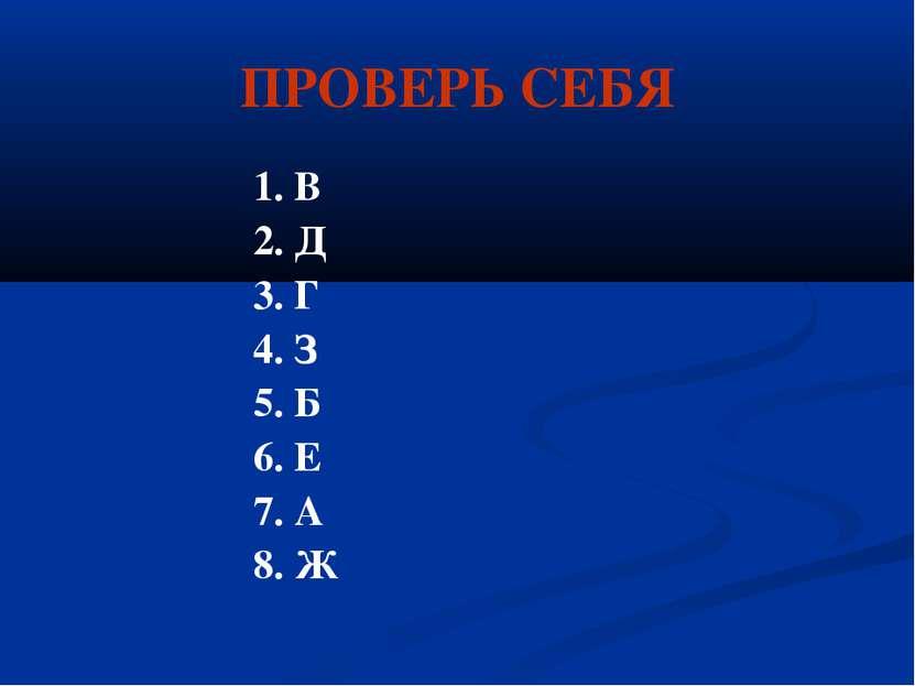 ПРОВЕРЬ СЕБЯ 1. В 2. Д 3. Г 4. З 5. Б 6. Е 7. А 8. Ж