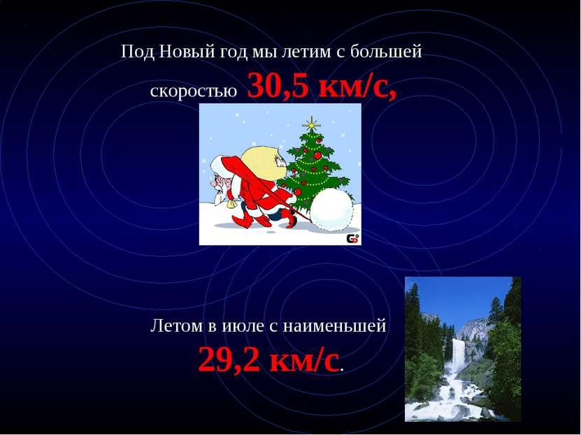 Под Новый год мы летим с большей скоростью 30,5 км/с, Летом в июле с наименьш...
