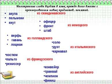 Иностранные слова входят в язык прежде всего вместе с проникновением новых пр...