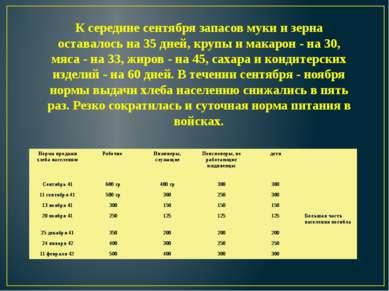 К середине сентября запасов муки и зерна оставалось на 35 дней, крупы и макар...