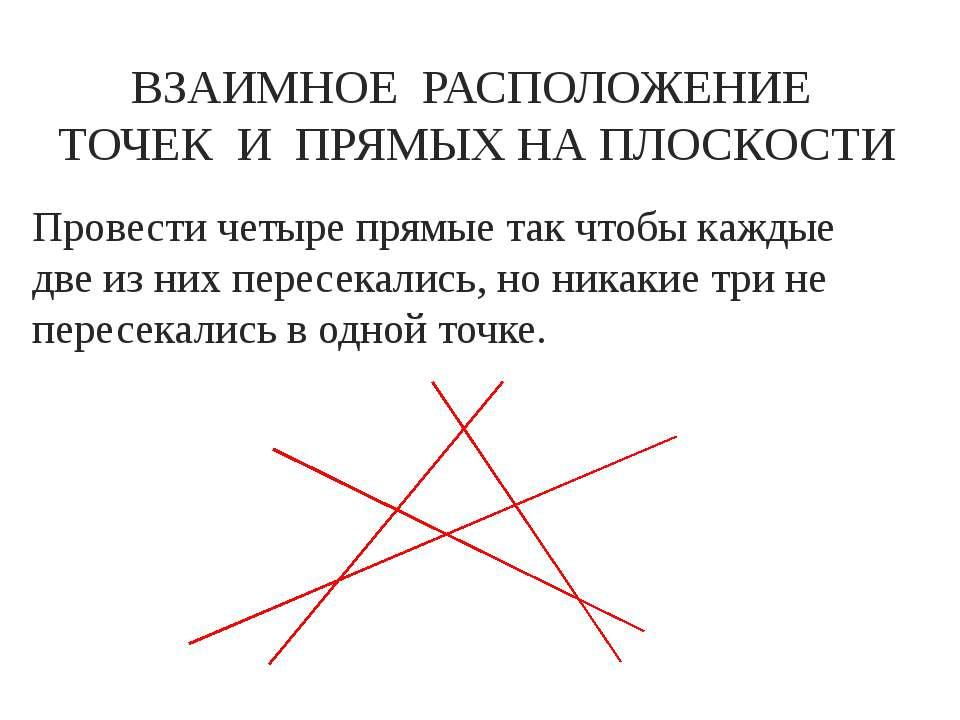 Провести четыре прямые так чтобы каждые две из них пересекались, но никакие т...