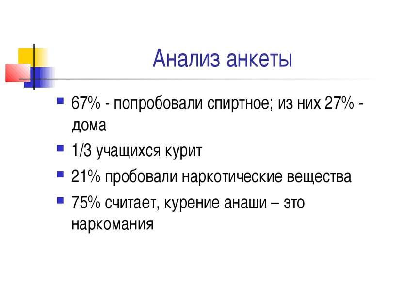 Анализ анкеты 67% - попробовали спиртное; из них 27% - дома 1/3 учащихся кури...