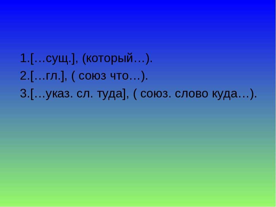 1.[…сущ.], (который…). 2.[…гл.], ( союз что…). 3.[…указ. сл. туда], ( союз....