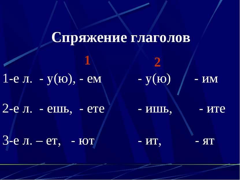 Спряжение глаголов 1 2 1-е л. - у(ю), - ем - у(ю) - им 2-е л. - ешь, - ете - ...