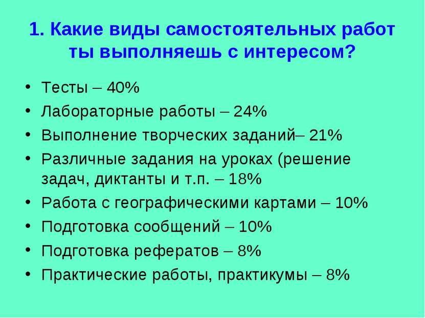 1. Какие виды самостоятельных работ ты выполняешь с интересом? Тесты – 40% Ла...