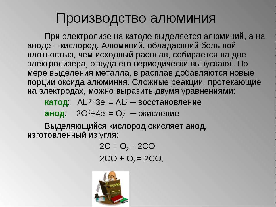 Производство алюминия При электролизе на катоде выделяется алюминий, а на ано...