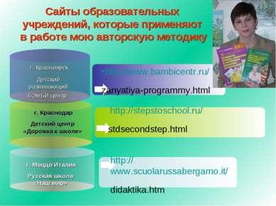 Сайты образовательных учреждений, которые применяют в работе мою авторскую ме...