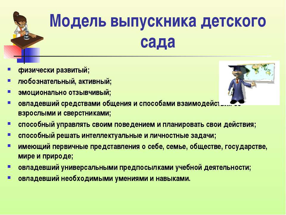 Модель выпускника детского сада физически развитый; любознательный, активный;...