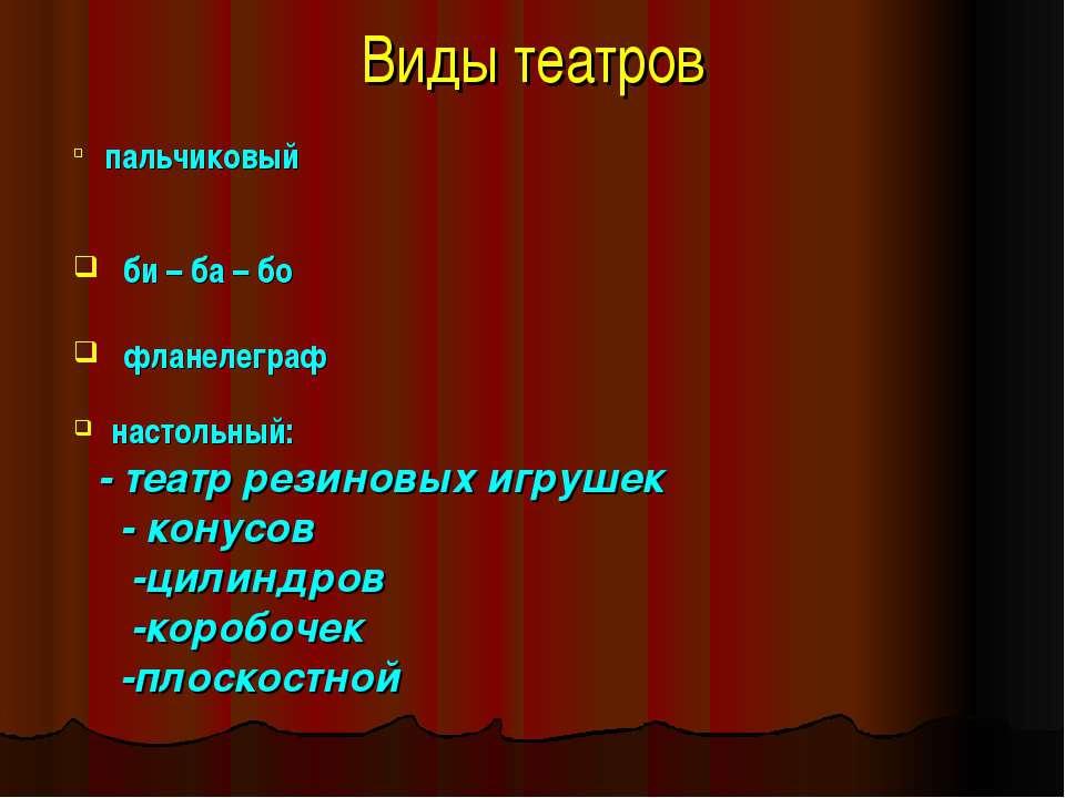 Виды театров пальчиковый би – ба – бо фланелеграф настольный: - театр резинов...