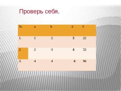 Проверь себя. № а b c S 1. 1 2 3 22 2. 2 3 4 52 3. 4 4 4 96