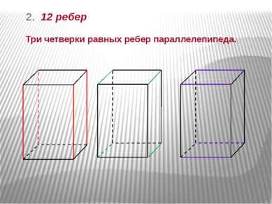 2. 12 ребер Три четверки равных ребер параллелепипеда.
