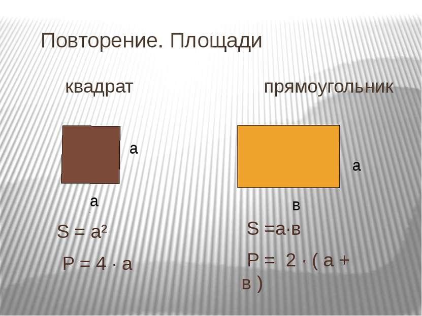 Повторение. Площади квадрат прямоугольник а а в S = а² Р = 4 · а S =а·в Р = 2...