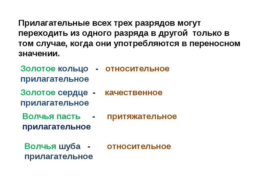 Прилагательные всех трех разрядов могут переходить из одного разряда в другой...