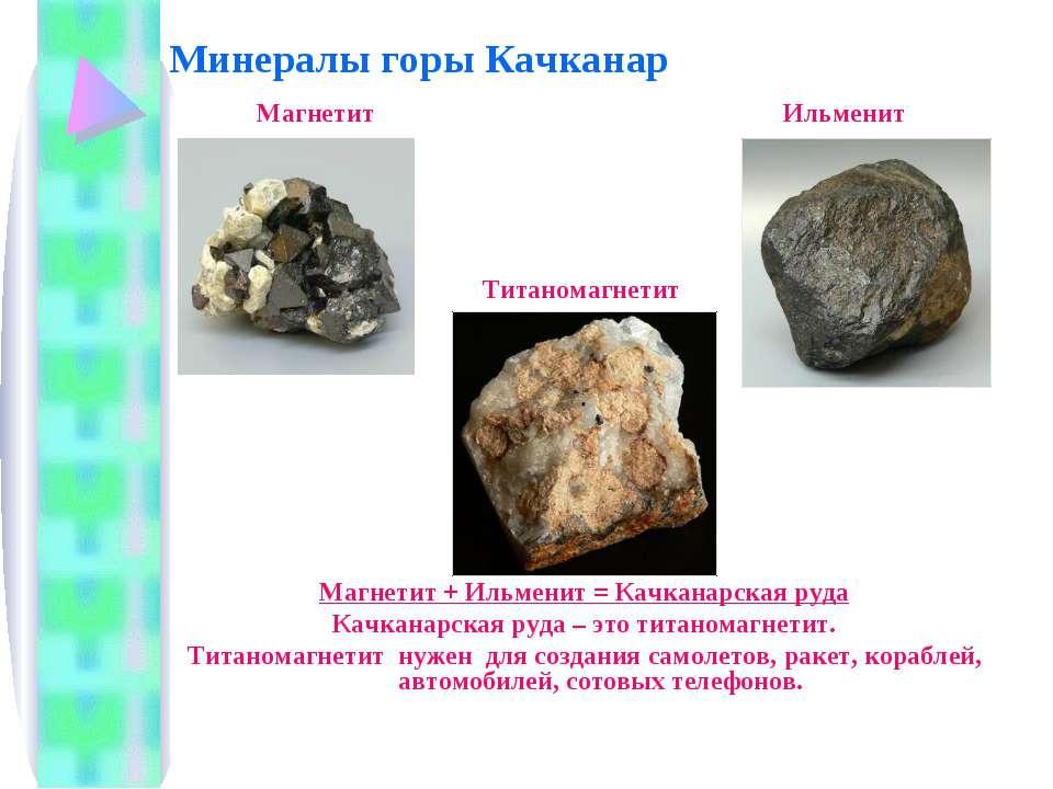 Минералы горы Качканар Магнетит Ильменит Титаномагнетит Магнетит + Ильменит =...