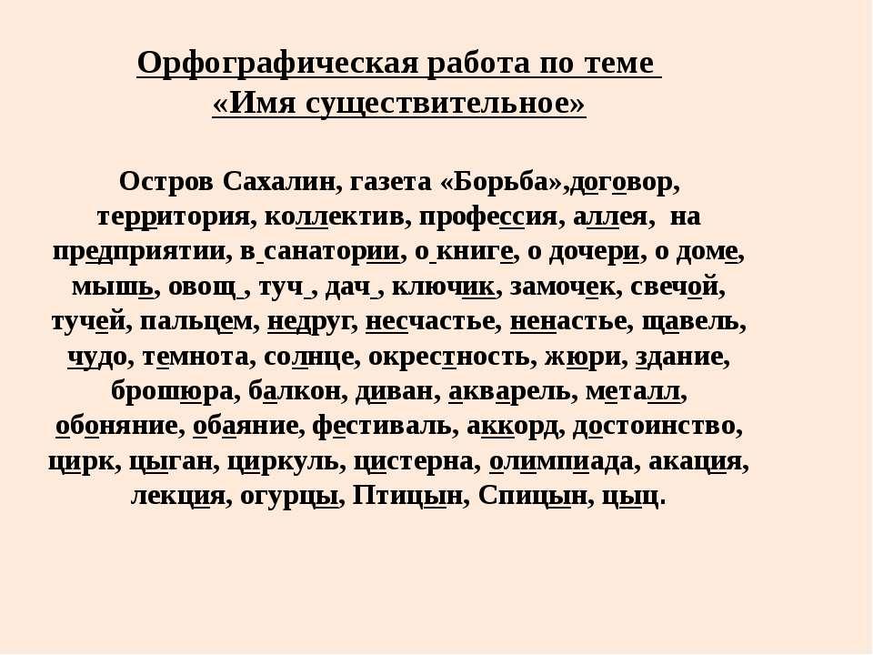 Орфографическая работа по теме «Имя существительное» Остров Сахалин, газета «...