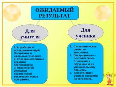 ОЖИДАЕМЫЙ РЕЗУЛЬТАТ Для учителя Для ученика 1. Апробация и исследование идей ...