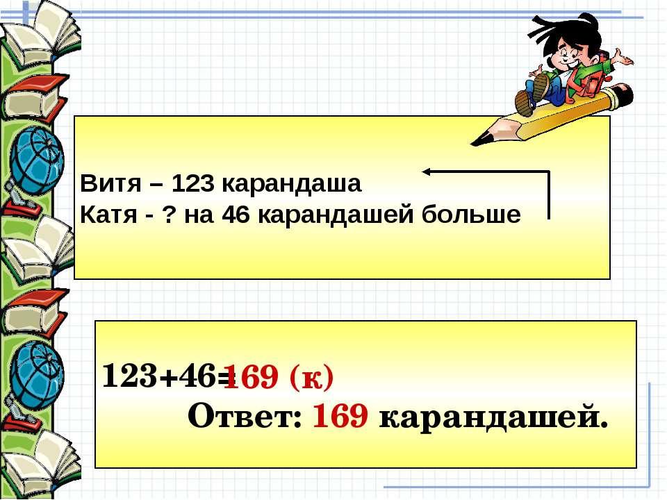 Витя – 123 карандаша Катя - ? на 46 карандашей больше 123+46= Ответ: 169 кара...