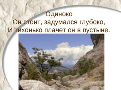 Одиноко Он стоит, задумался глубоко, И тихонько плачет он в пустыне.