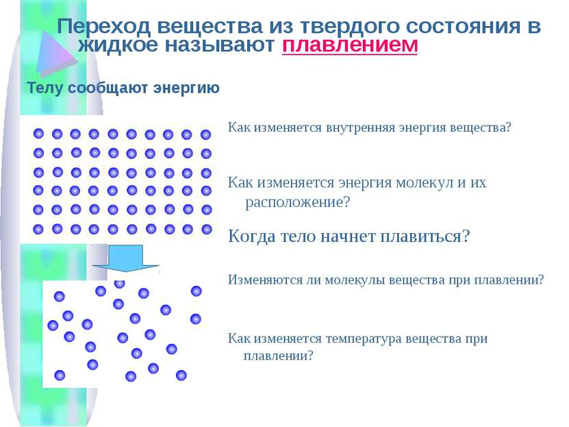Переход вещества из твердого состояния в жидкое называют плавлением Телу сооб...