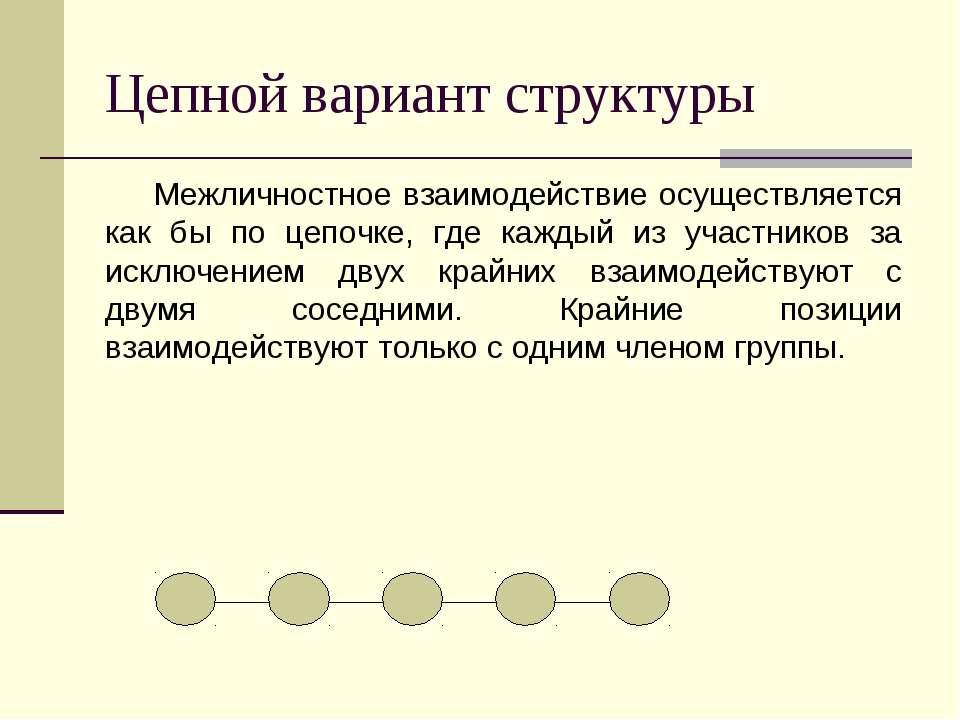 Цепной вариант структуры Межличностное взаимодействие осуществляется как бы п...