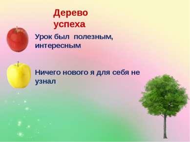 Дерево успеха Урок был полезным, интересным Ничего нового я для себя не узнал