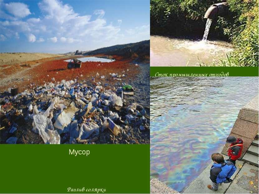 Сток промышленных отходов Разлив солярки Мусор