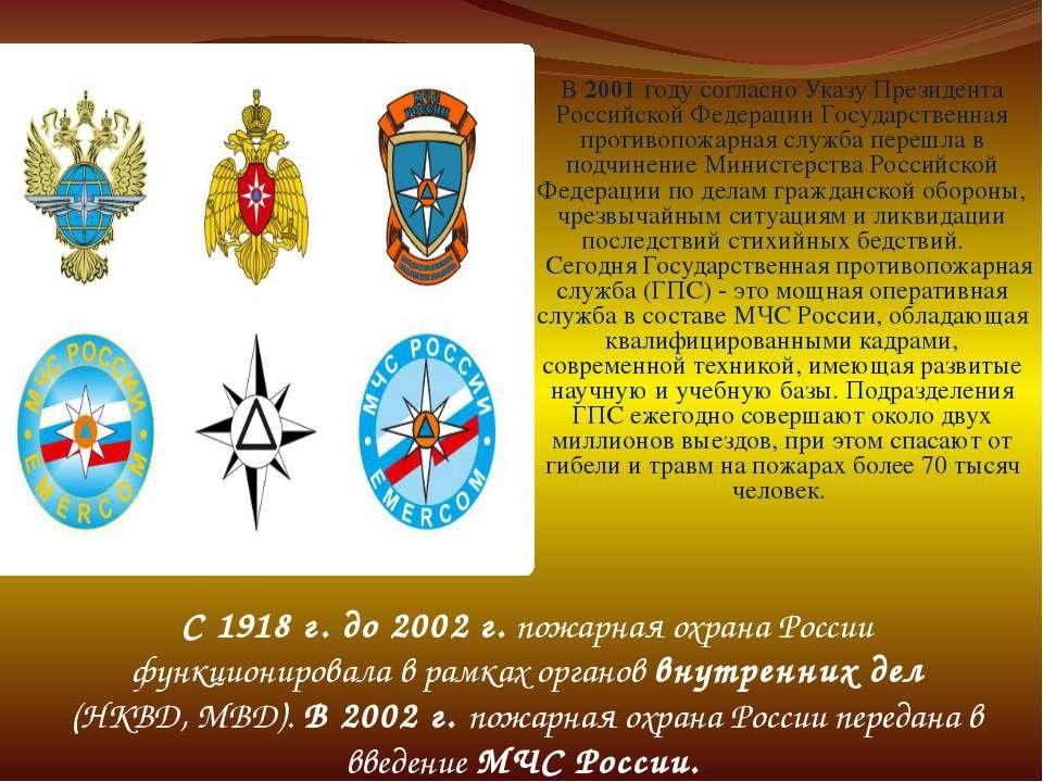 C 1918 г. до 2002 г. пожарная охрана России функционировала в рамках органов ...