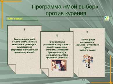 Программа «Мой выбор» против курения I Анализ социальной действительности и в...