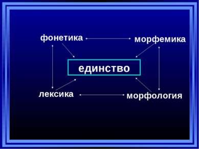 единство фонетика морфемика лексика морфология