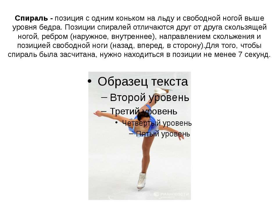 Спираль - позиция с одним коньком на льду и свободной ногой выше уровня бедра...