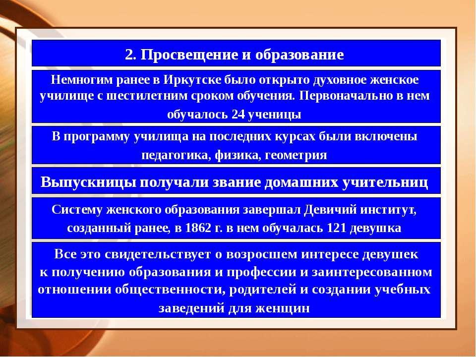 2. Просвещение и образование Немногим ранее в Иркутске было открыто духовное ...