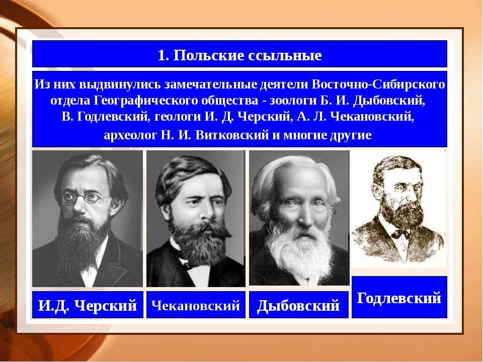 1. Польские ссыльные Из них выдвинулись замечательные деятели Восточно-Сибирс...