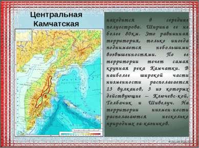 Центральная Камчатская низменность находится в середине полуострова. Ширина е...