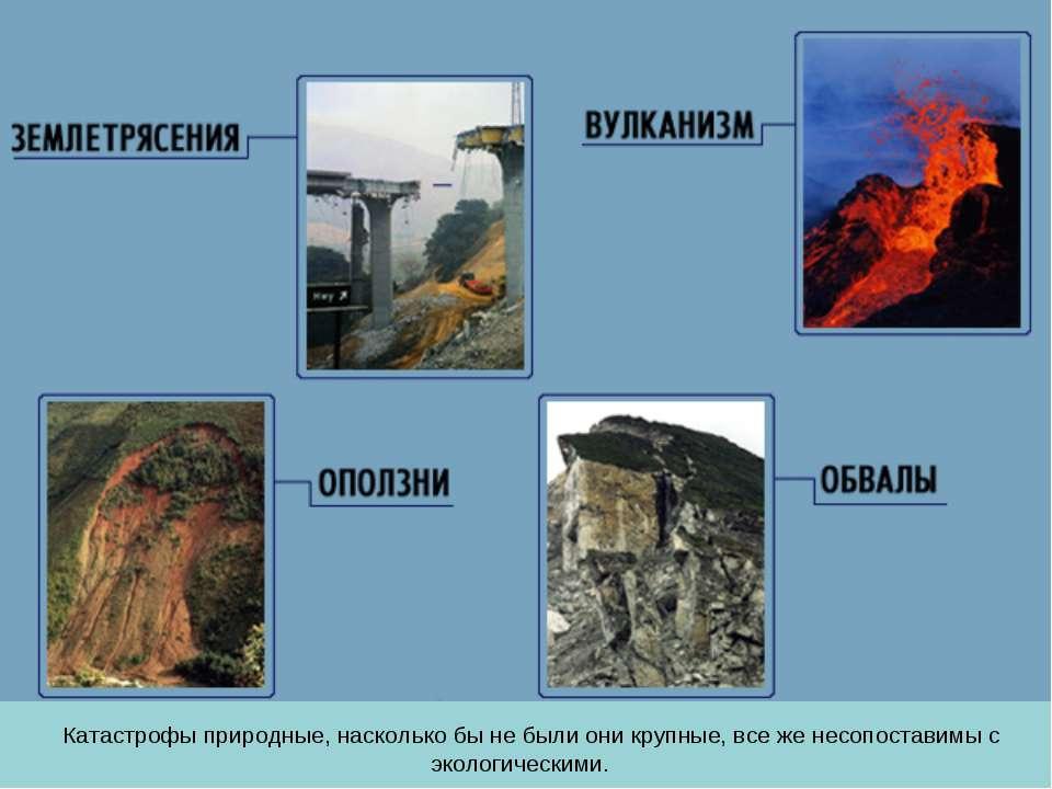 Катастрофы природные, насколько бы не были они крупные, все же несопоставимы ...