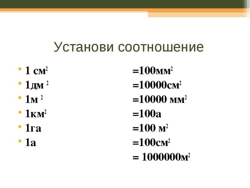 Установи соотношение 1 см2 1дм 2 1м 2 1км2 1га 1а =100мм2 =10000см2 =10000 мм...