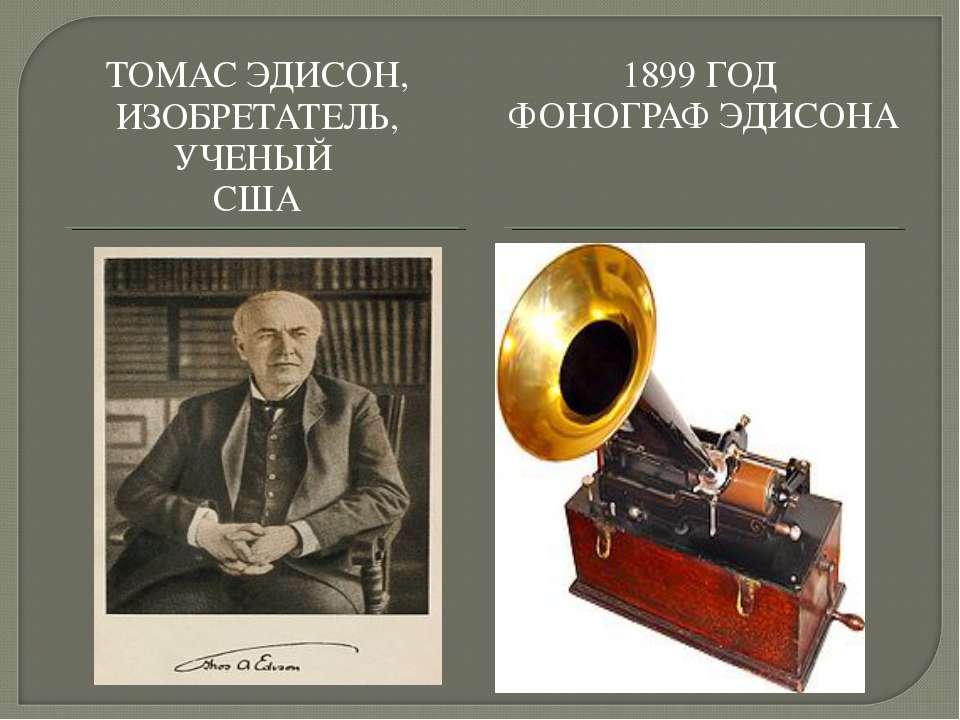 ТОМАС ЭДИСОН, ИЗОБРЕТАТЕЛЬ, УЧЕНЫЙ США 1899 ГОД ФОНОГРАФ ЭДИСОНА
