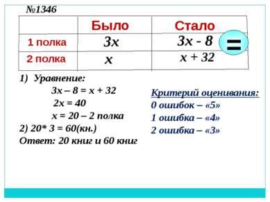 3х х 3х - 8 х + 32 1) Уравнение: 3х – 8 = х + 32 2х = 40 х = 20 – 2 полка 2) ...
