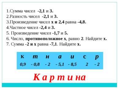 1.Сумма чисел -2,1 и 3. 2.Разность чисел -2,1 и 3. 3.Произведение чисел х и 2...