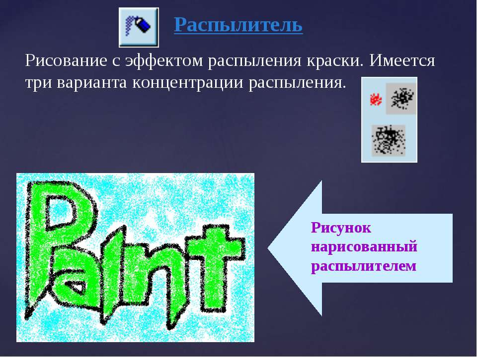 Распылитель Рисование с эффектом распыления краски. Имеется три варианта конц...