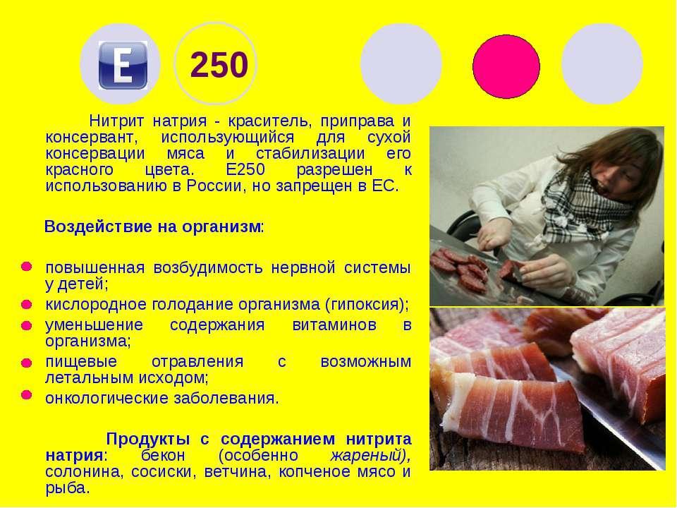 250 Нитрит натрия - краситель, приправа и консервант, использующийся для сухо...