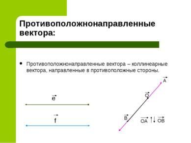 Противоположнонаправленные вектора: Противоположнонаправленные вектора – колл...