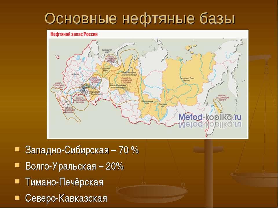 Основные нефтяные базы Западно-Сибирская – 70 % Волго-Уральская – 20% Тимано-...