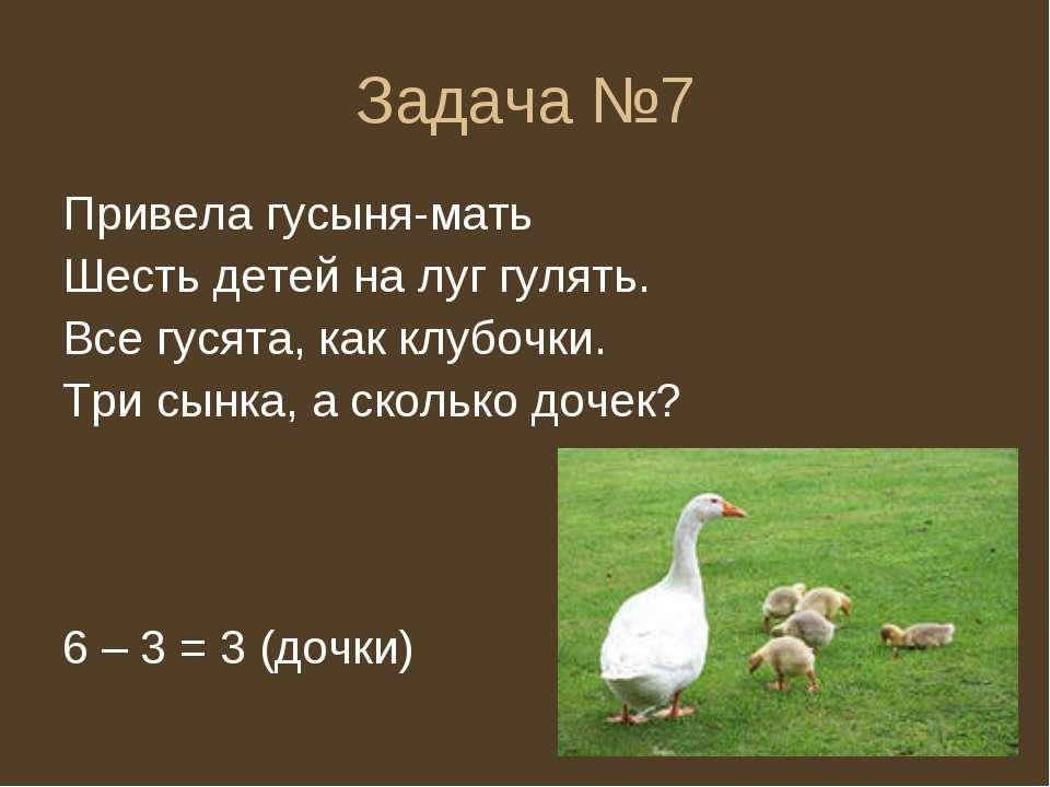 Задача №7 Привела гусыня-мать Шесть детей на луг гулять. Все гусята, как клуб...