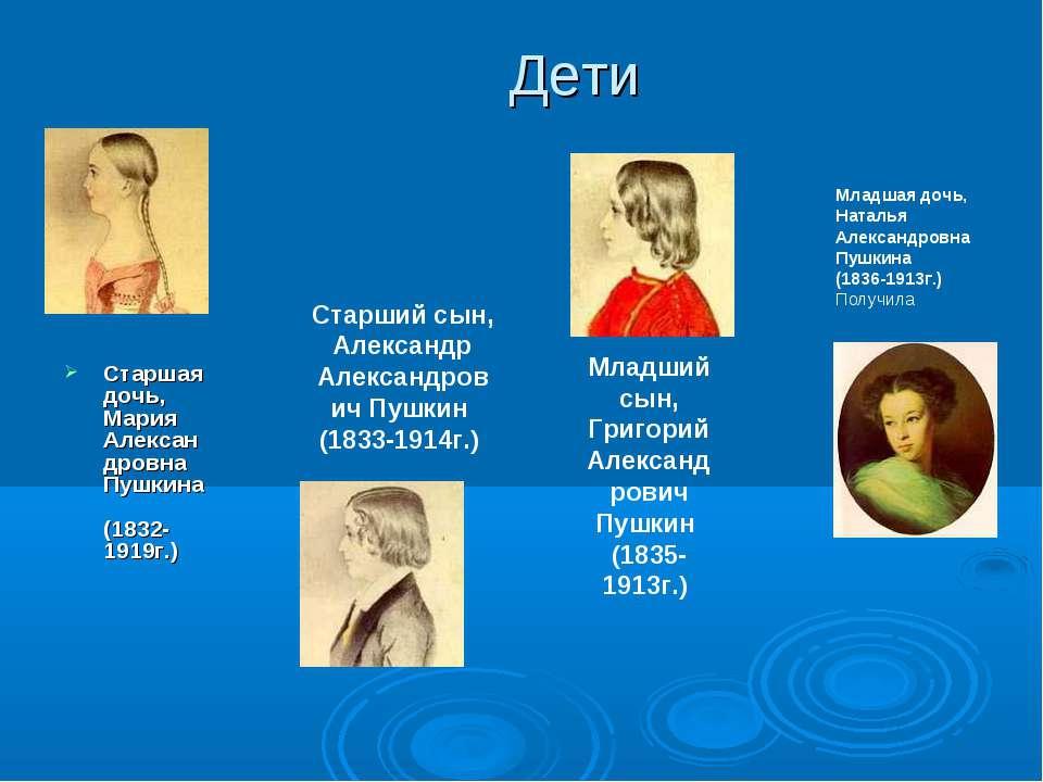 Дети Старшая дочь, Мария Александровна Пушкина (1832-1919г.) Старший сын, Але...