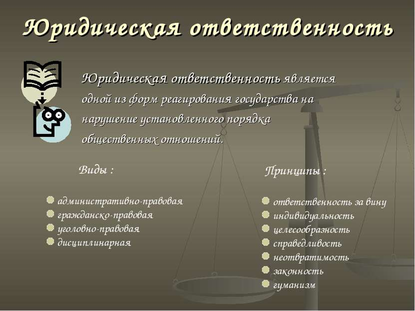 Юридическая ответственность Юридическая ответственность является одной из фор...