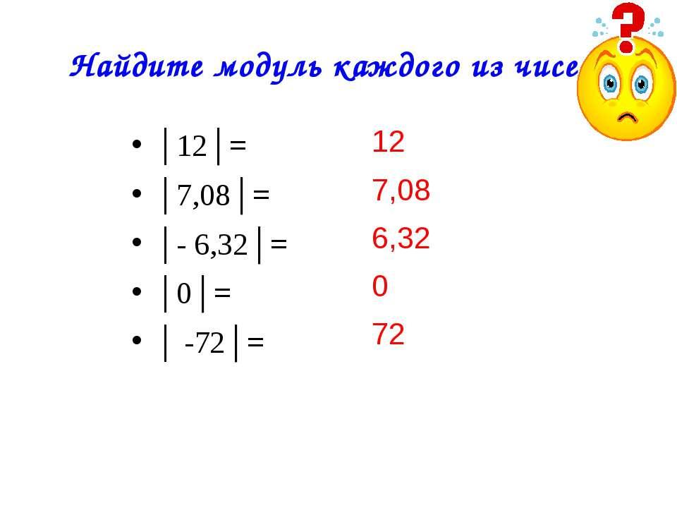 Найдите модуль каждого из чисел: 12 7,08 6,32 0 72 │12│= │7,08│= │- 6,32│= │0...