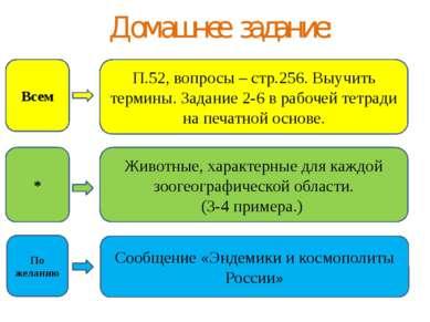 Домашнее задание: П.52, вопросы – стр.256. Выучить термины. Задание 2-6 в раб...