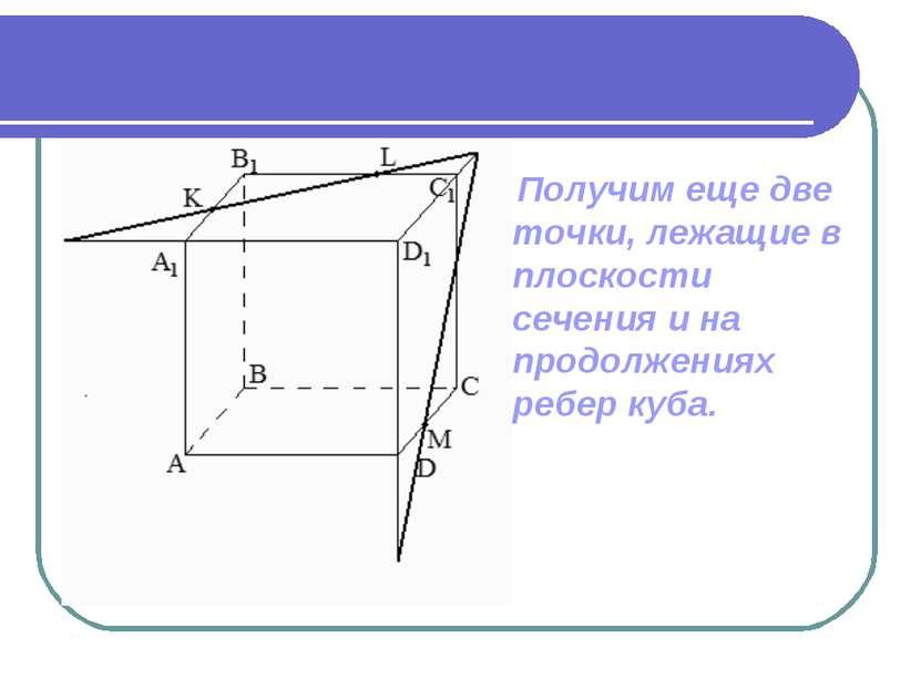 Получим еще две точки, лежащие в плоскости сечения и на продолжениях ребер куба.